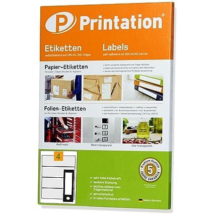 Etiquetas universales para lomo de archivadores (190 x 61 mm, 100 etiquetas autoadhesivas, 25 hojas DIN A4, 1 x 4), color blanco