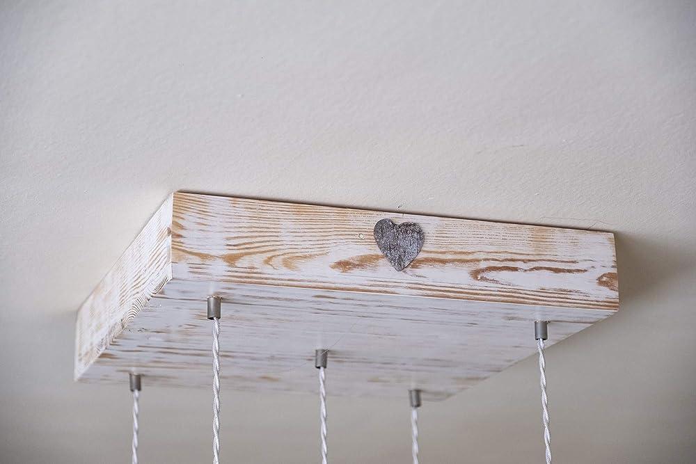Lampara de techo madera reciclada y decapada: Amazon.es ...