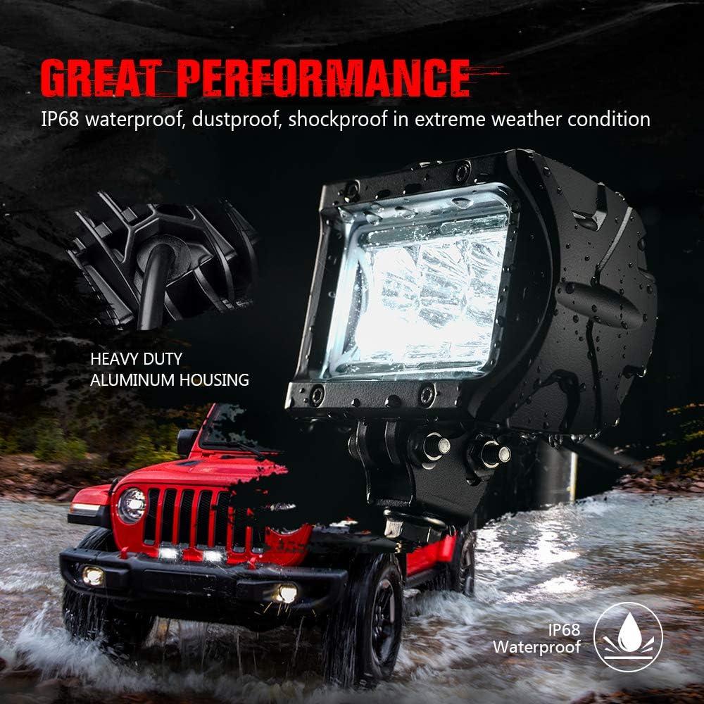 - MNJ MOTOR 2PCS 18W 1800LM Spot Driving Fog Light Off Road Led Lights Bar 2PCS 4 Inch Led Lights Bar Mounting Bracket for SUV Boat Jeep Lamp