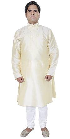 411d5fe540e3 Amazon.com  Kurta Pajama Shirt Set High Neck Long Sleeve Mens Fashion Silk  Outfit -XL  Clothing