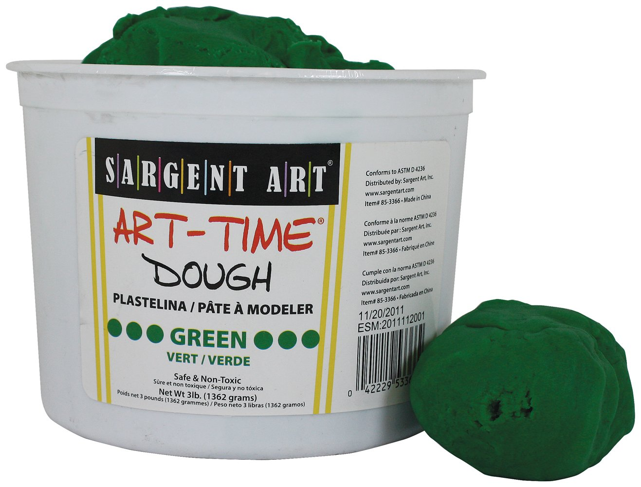 Sargent Art 85-3366 3-Pound Art-Time Dough, Green