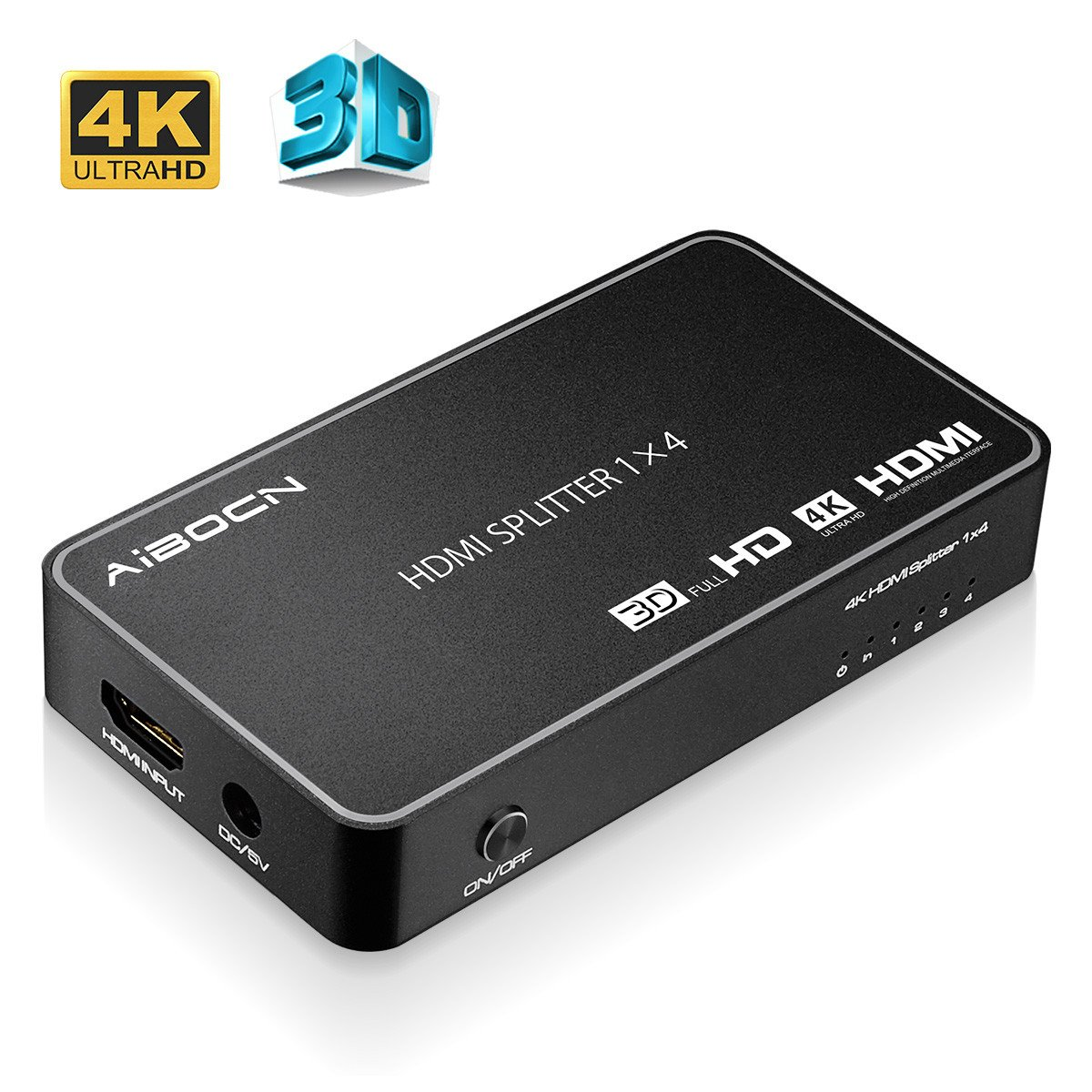 EBL HDMI Splitter Répartiteur Commutateur 4 Ports (Supporte 3D 4K, 2K, PC, Macbook, Notebook, Lecteur Blu-ray, TV HD, DVD HD, Moniteur, Projecteur, Audio) - Noir