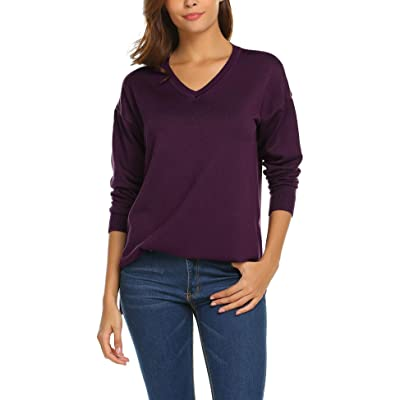 SoTeer Women's V-Neck Knit Sweater Pullover Long Tunic Blouse Top at Women's Clothing store