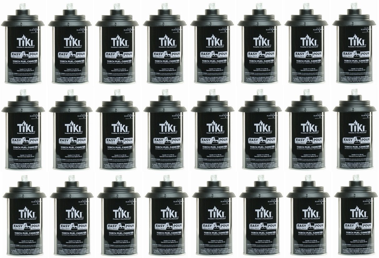 Tiki 1317054 Easy Pour Metal Replacement Torch Fuel Canisters w/Wick - Quantity 24