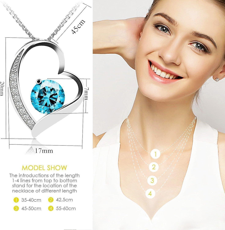 Schmuck mit Etui ewige Liebe - blau J.V/énus Kette Damen Halskette mit Herz Anh/änger 925 Sterling Silber Zirkonia 45cm