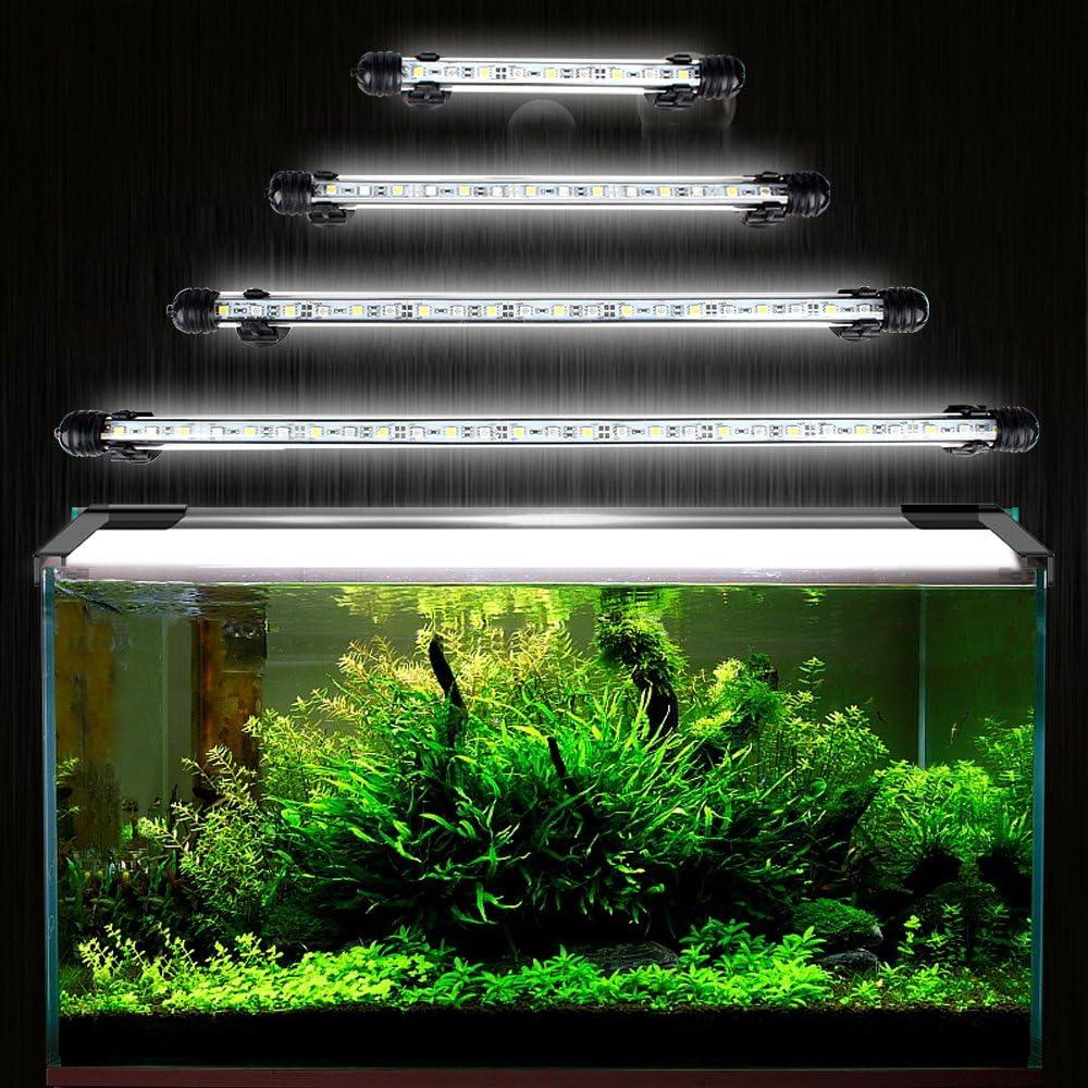 DOCEAN 5050SMD 21 LEDs Acuario iluminación LED de lámpara bombilla Lighting Luz LED Sumergible para Acuarios resistente al agua IP68, 38cm, Blanco
