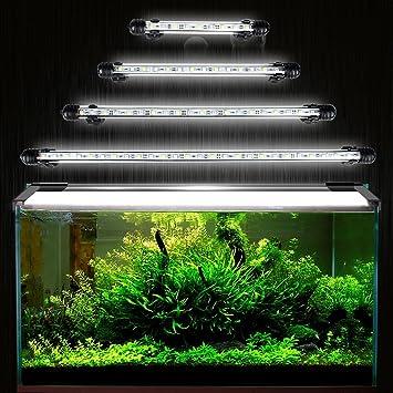DOCEAN 5050SMD 27LEDs Acuario iluminación LED de lámpara bombilla Lighting para pez Tank EU Conector resistente al agua IP68, 48cm, Blanco: Amazon.es: ...