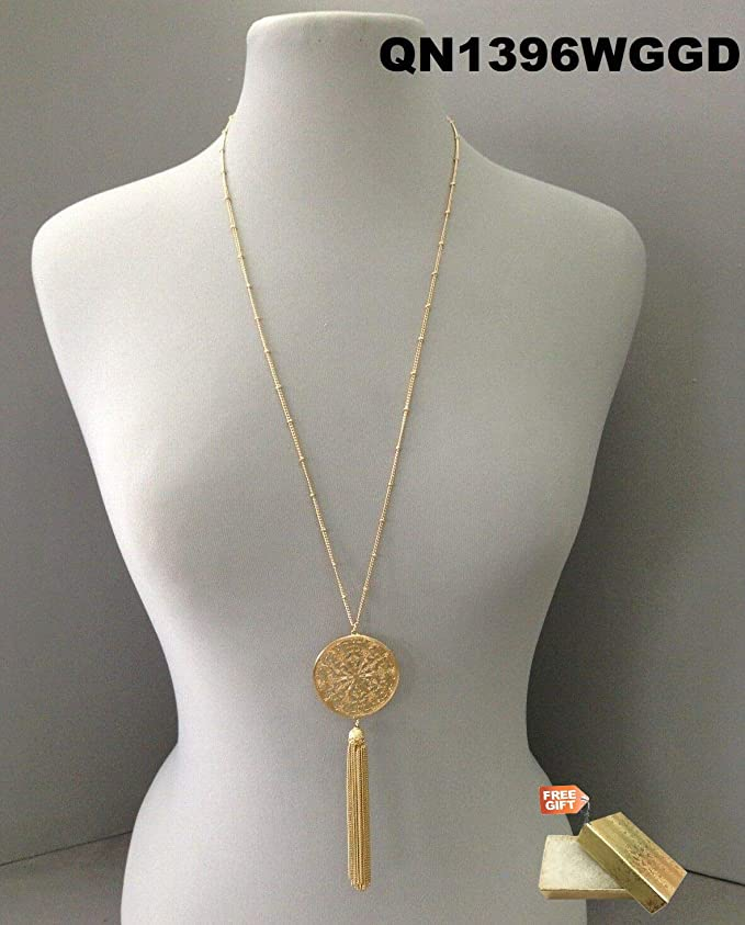 Gold Cotton Filled Gift Box for Free Antique Silver Chain Necklace with Round Turquoise Stone Tassel and a Crystal