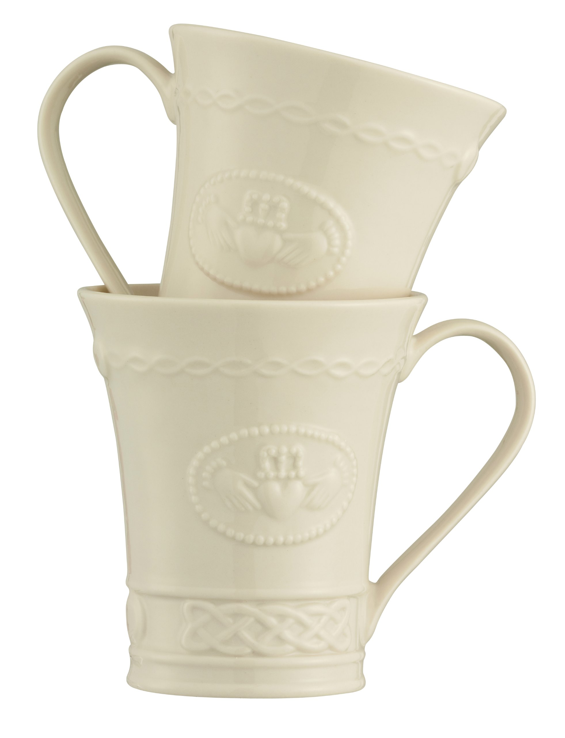 Belleek Group 4131 Claddagh Mug, 10-Ounce, Ivory, Set of 2