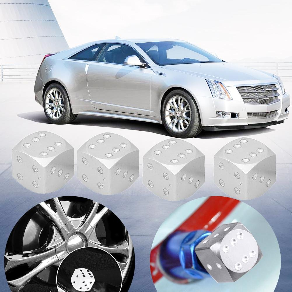 Blue Seawang 4pcs Dice Style Car Tire Wheel Tyre Caps Valve Stem Dust Covers