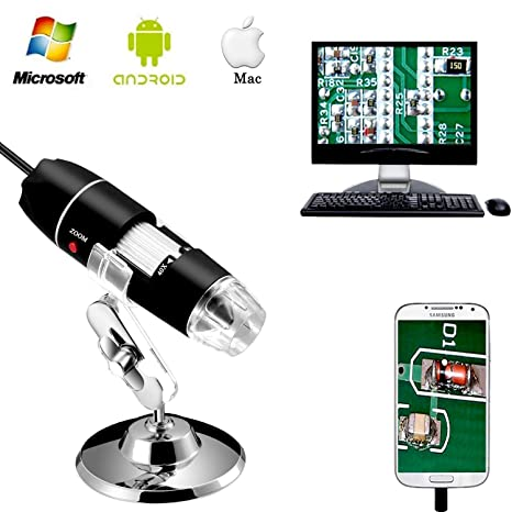 Jiusion 40 to 1000x Magnification Endoscope, 8 LED USB 2 0 Digital  Microscope, Mini Camera with OTG Adapter and Metal Stand, Compatible with  Mac