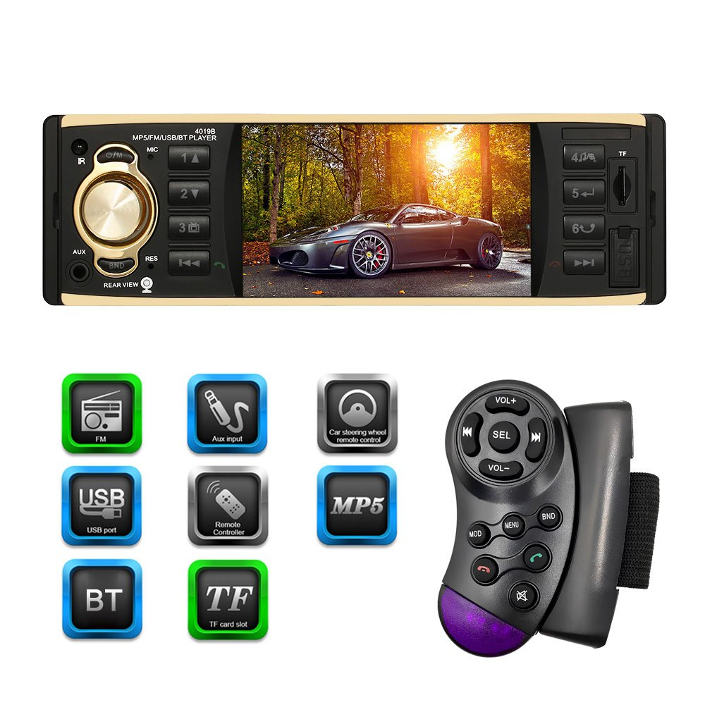 KKmoon 4.1' Reproductor Multimedia MP5, TFT Autoradio 1 Din, HD 1080P, Pantalla Digital, BT Radio USB/TF FM Aux Entrada, con Control de Volante Multiilenguaje para Coche UEM7973672614274UY