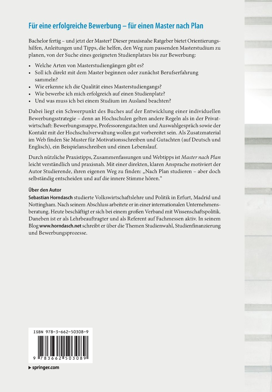 master nach plan erfolgreich ins masterstudium auswahl bewerbung sebastian horndasch amazonde bcher - Master Bewerbung