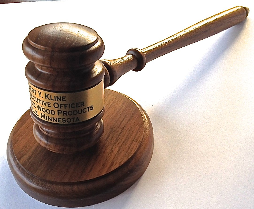 Gavel Engraved with Round Block - Made in USA