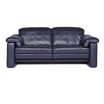 Rolf Benz Designer Leather Sofa Blue Two-Seater Couch ...