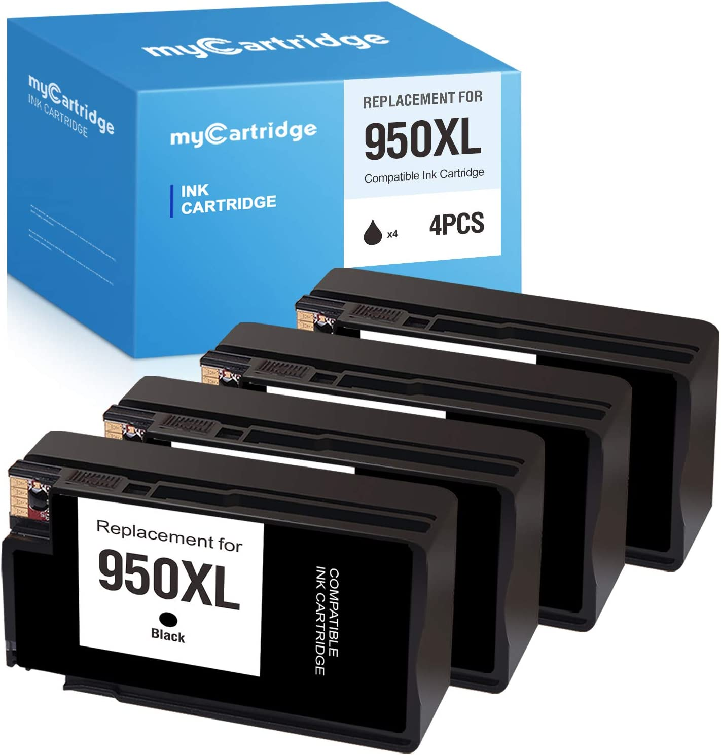 MYCARTRIDGE Compatible Ink Cartridge Replacement for HP 950 XL 950XL for OfficeJet Pro 8610 8600 8620 8100 8630 8615 8625 8640 8660 276dw 251dw 271dw (Black, 4-Pack)