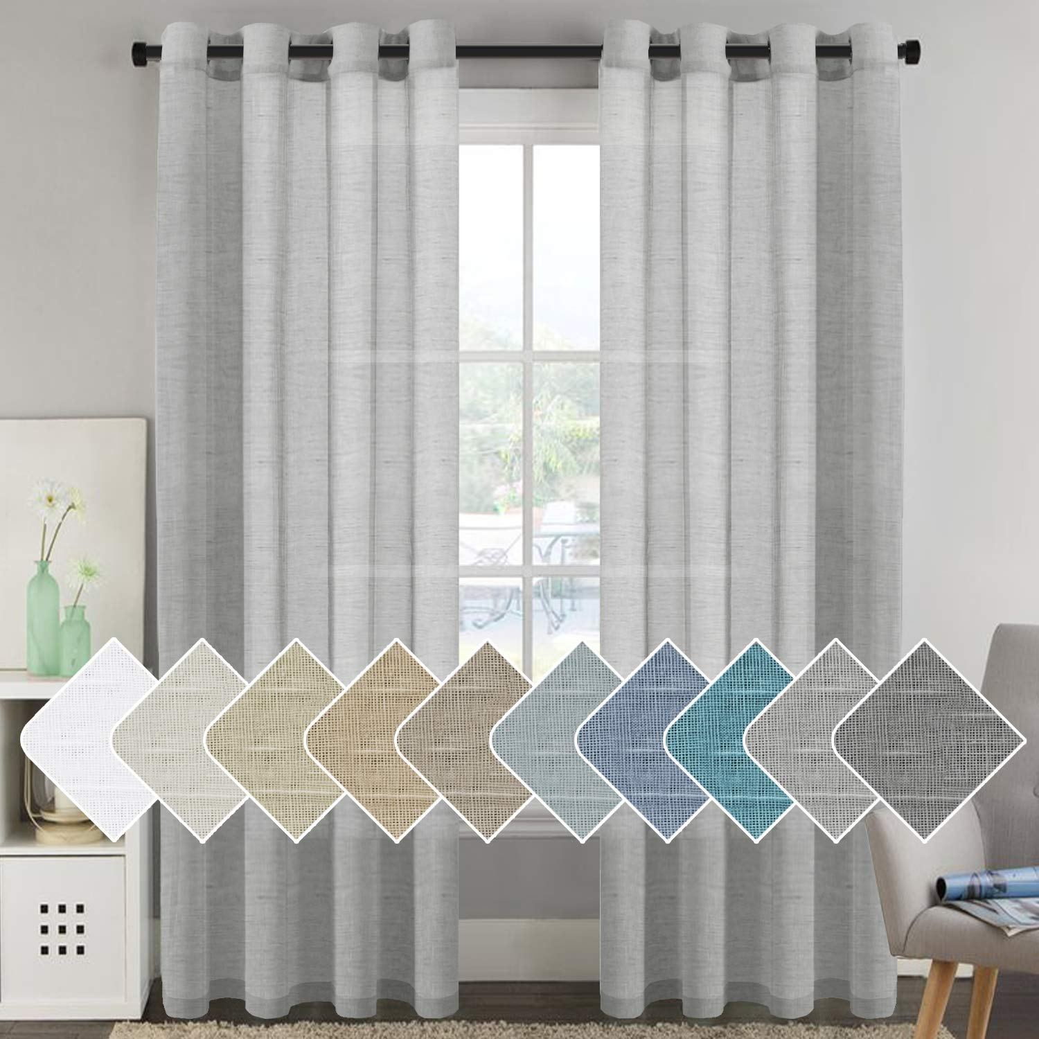 H.VERSAILTEX Privacy Protection Home Fashion Natural Linen Rich Quality Curtain Sheers Multi Size 52x96 - Inch/Nickel Grommet Top Linen Curtain Panels Indoor Curtains (Set of 2, Dove Gray)