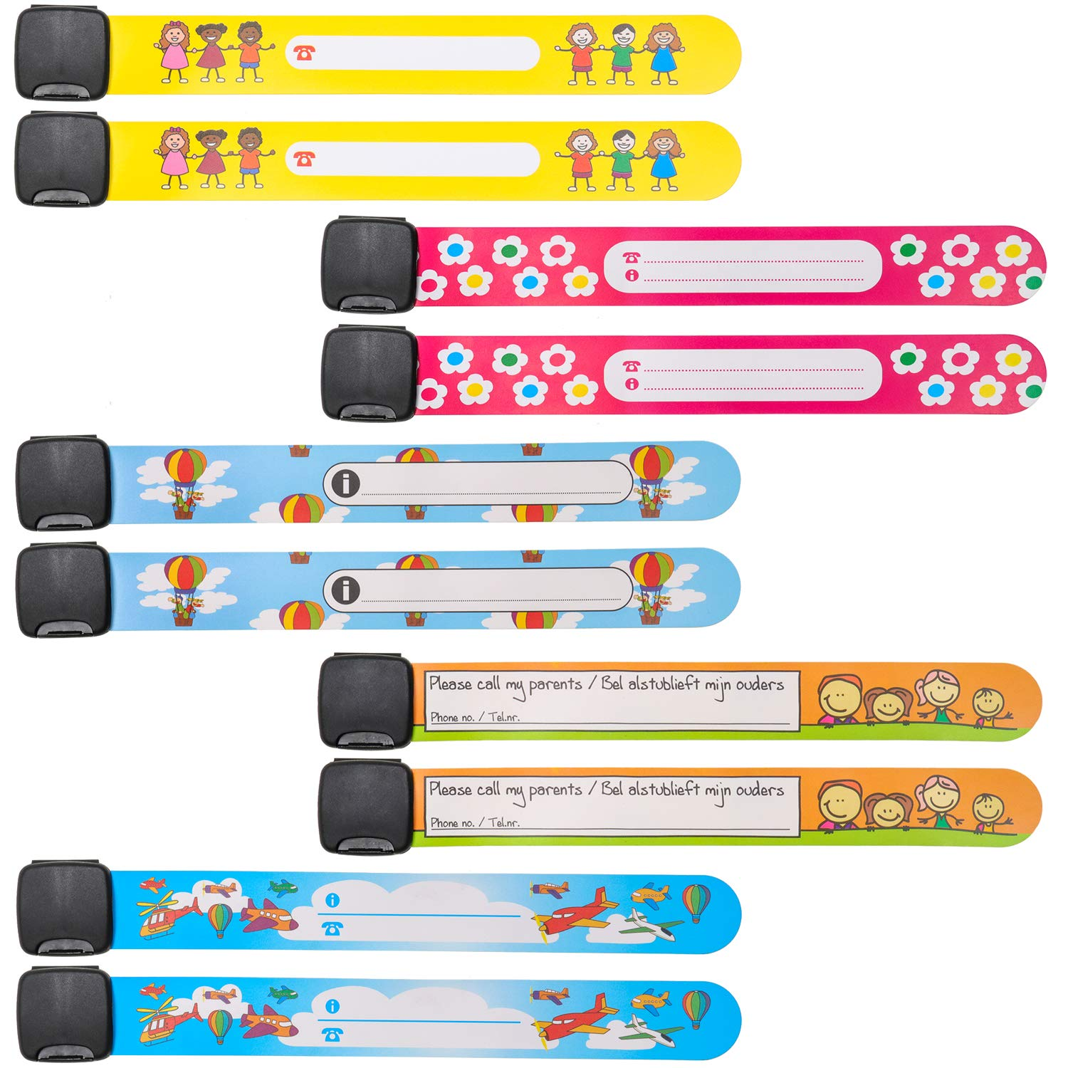 Child Safety ID Wristband,Kid ID Bracelet Emergency Name Armband Reusable and Waterproof Child ID Wrist Band for Boys Girls Toddlers 10PCS CGBOOM