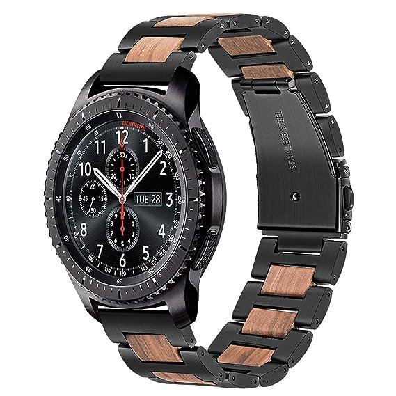 TRUMiRR para Samsung Galaxy Watch 46mm Banda, 22mm Correa de liberación rápida de Banda de Reloj de Madera y Acero Inoxidable Natural para Samsung ...