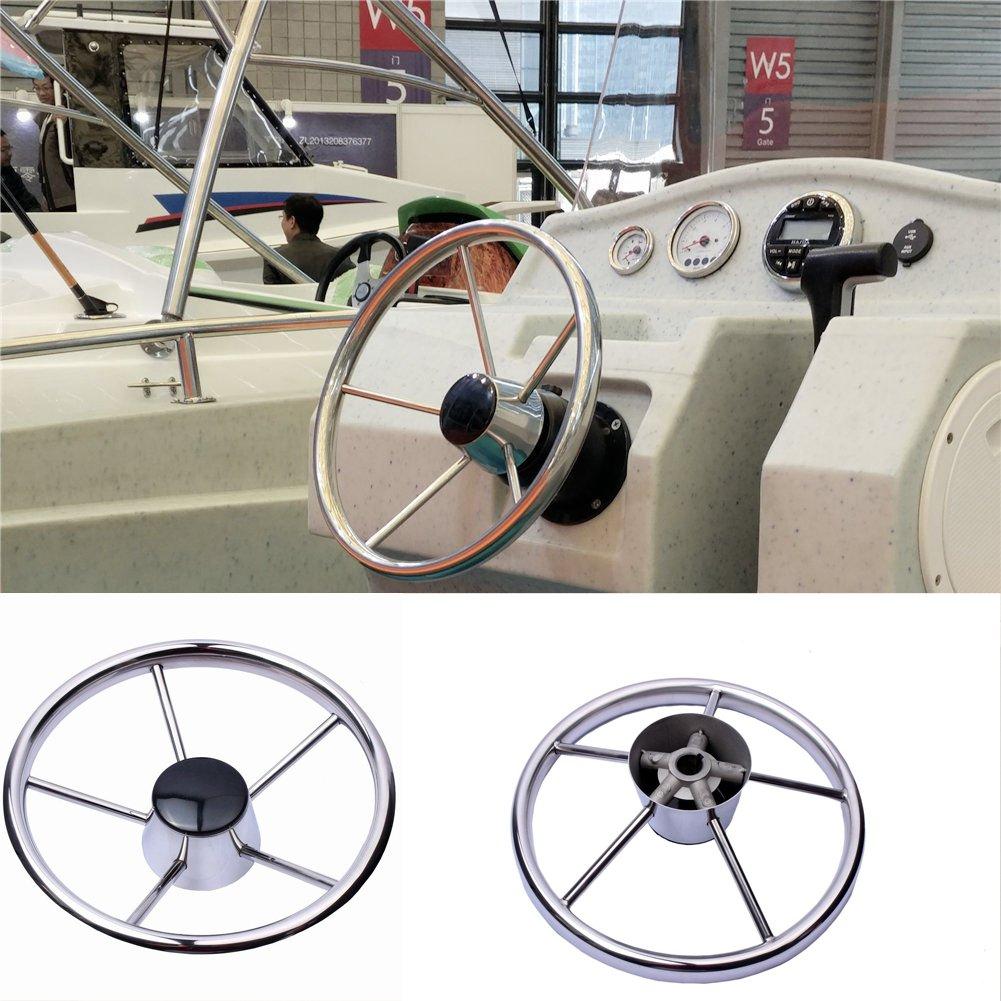 HOFFEN Boat Stainless Steel Steering Wheel 5 Spoke 25 Degree 13-1/2'' For Marine Yacht