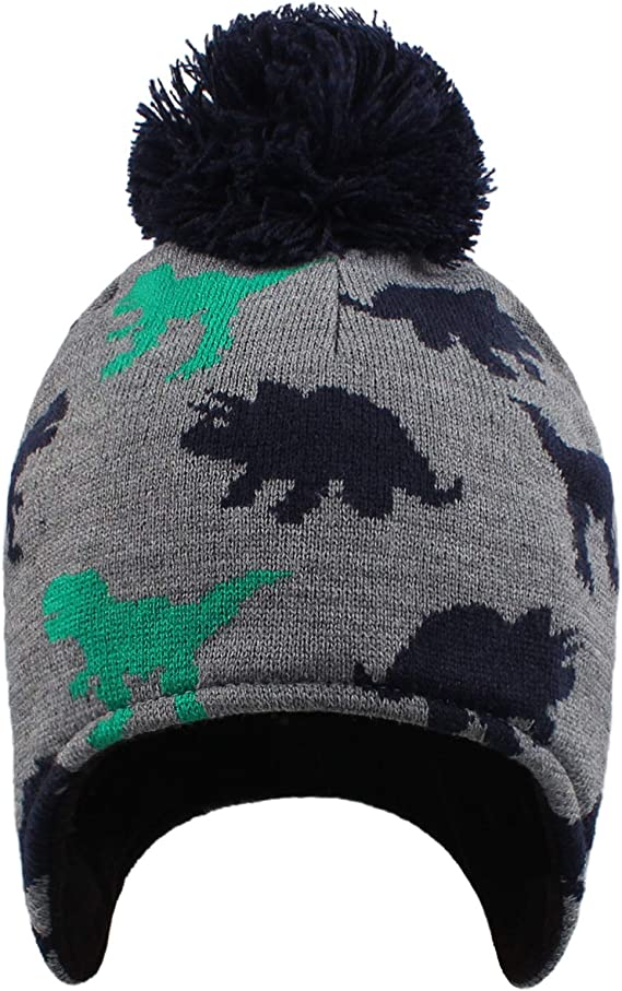 Baby Boy Dinosaur Hat Toddler Boys Winter Knitted Beanie Cute Pompom Hats for Kids