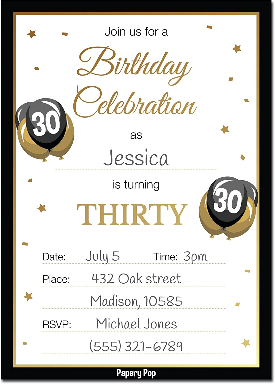 Amazon 30th Birthday Invitations With Envelopes 30 Count