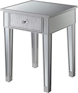 Convenience Concepts Gold Coast Mirrored End Table with Drawer, Silver / Silver Faux Croc