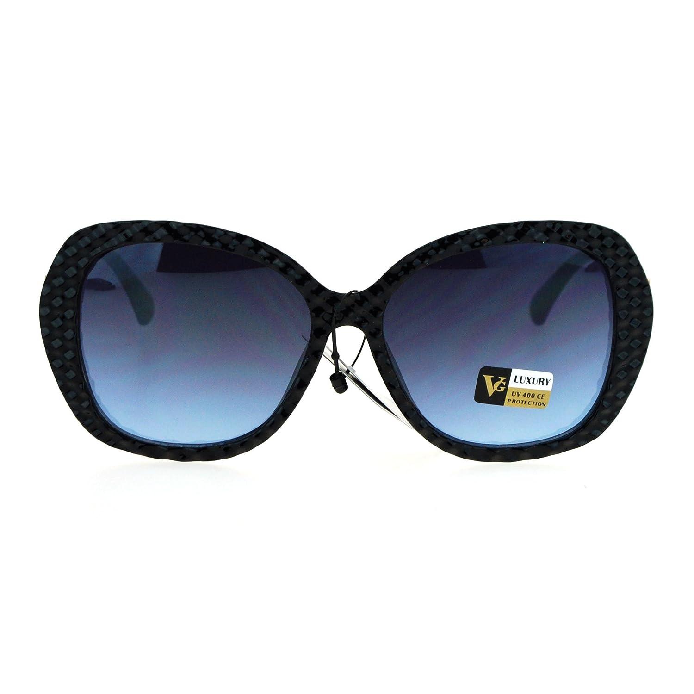 aa03b73e9b10 Amazon.com  Womens Bling Rhinestone Rock Candy Glitter Butterfly Sunglasses  Black Blue Smoke  Clothing