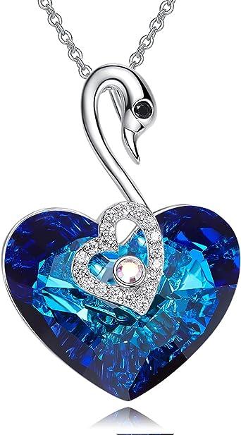 Collier pour femme en or blanc avec cristaux Swarovski elements originaux  Cigno Cœur bleu d'océan Chaîne Coffret certifié CSW-20-C