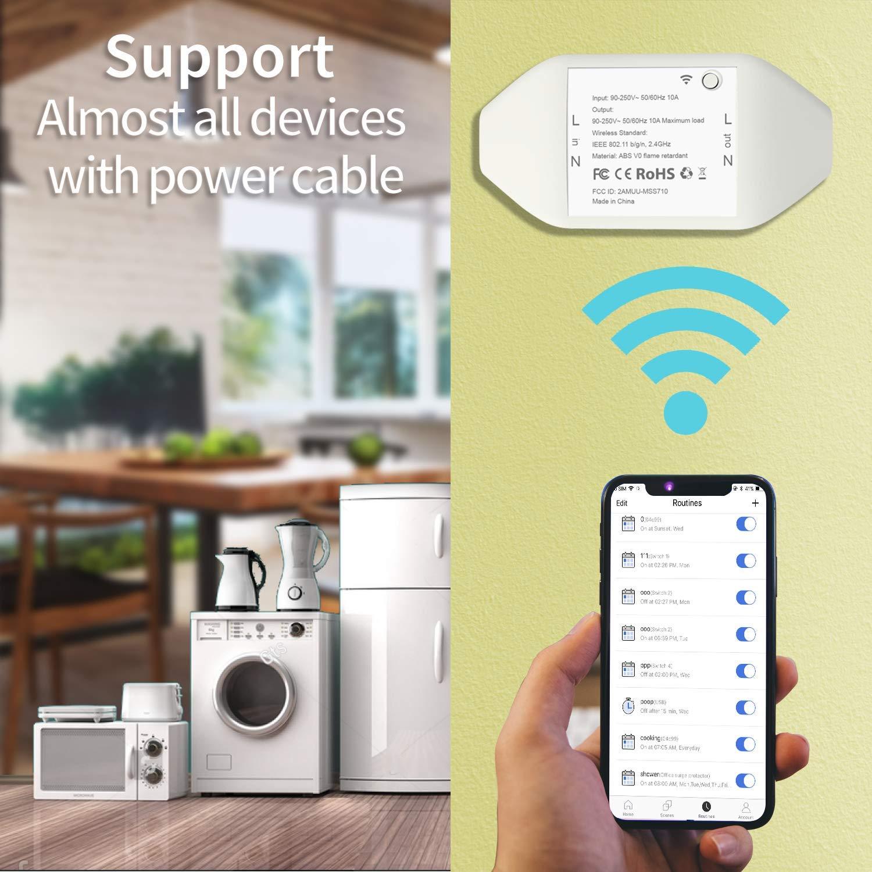 Contr/ôle /à Distance et Fonction de Temps meross Interrupteur Connect/é WiFi Lot de 2 Commutateurs avec Contr/ôle Vocal 10A DIY Interrupteur Intelligent Compatible avec Alexa Google Home et IFTTT