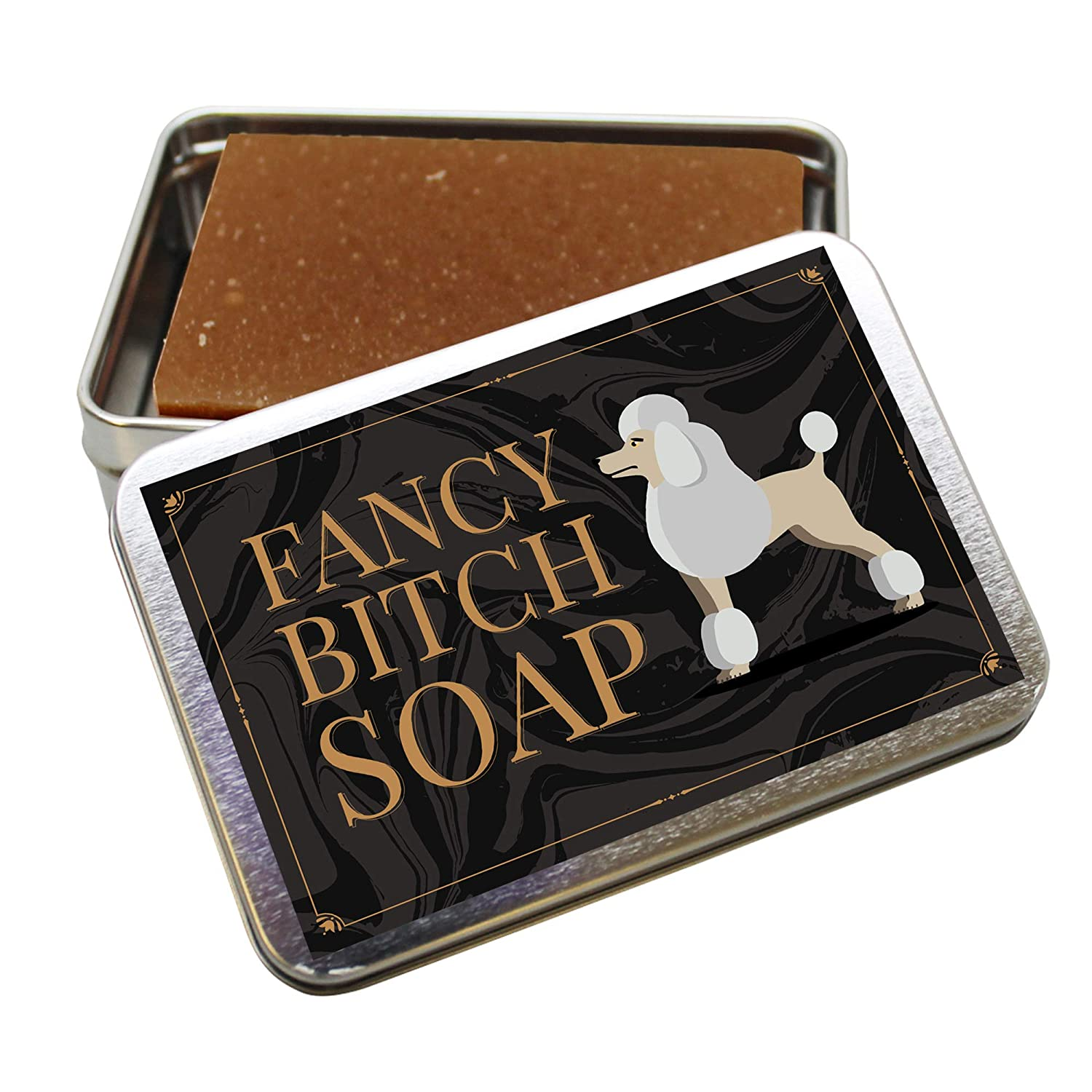Fancy Btch Soap - Pretty Poodle Tin - Novelty Bath Soap for Women - Chocolate Soap, Handcrafted, Made in the USA