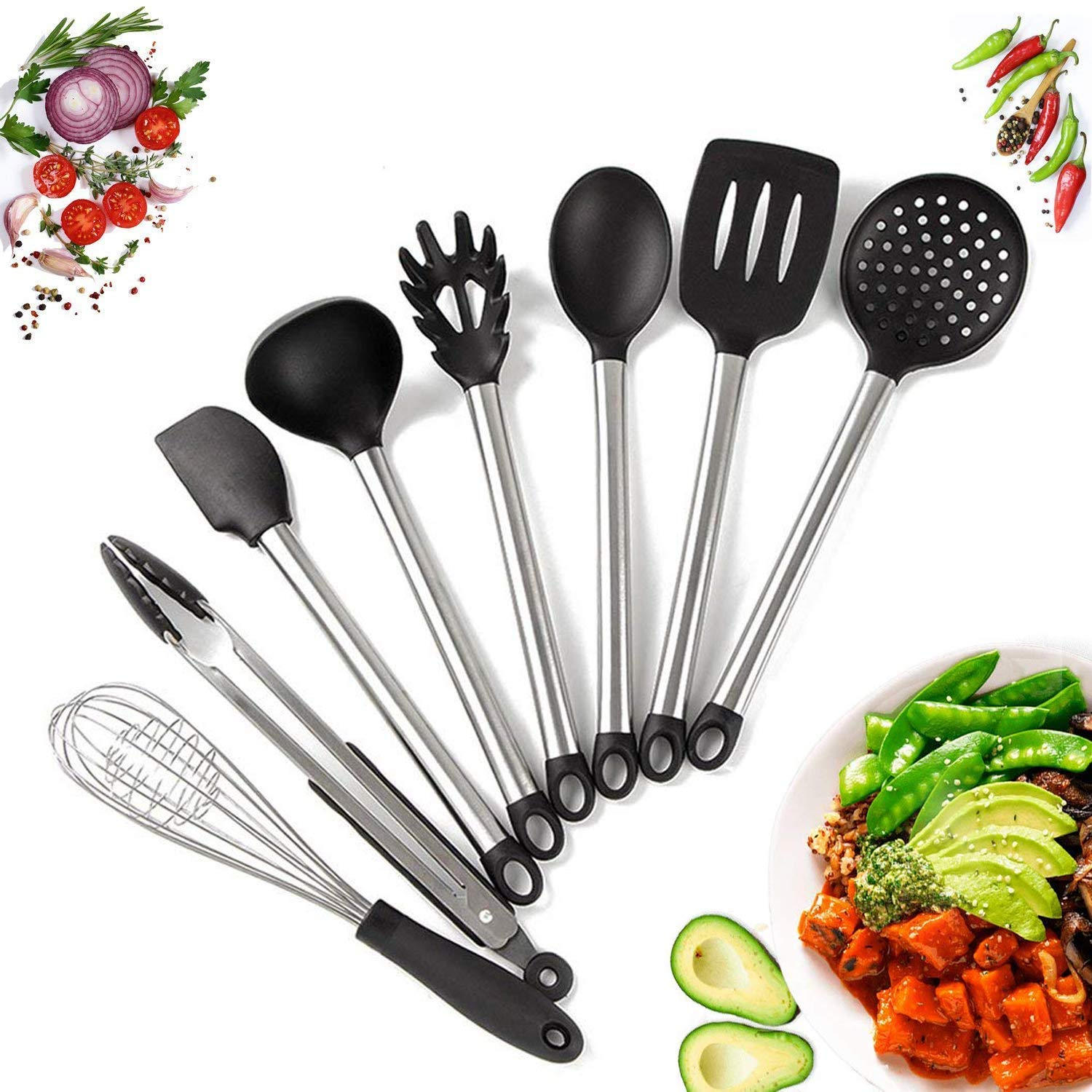 Premium Silicone Kitchen Utensil Set with Holder- 7 Piece Cooking Utensil Set with Easy to Clean Natural Wooden Handles- Holder Included Chef's Selection