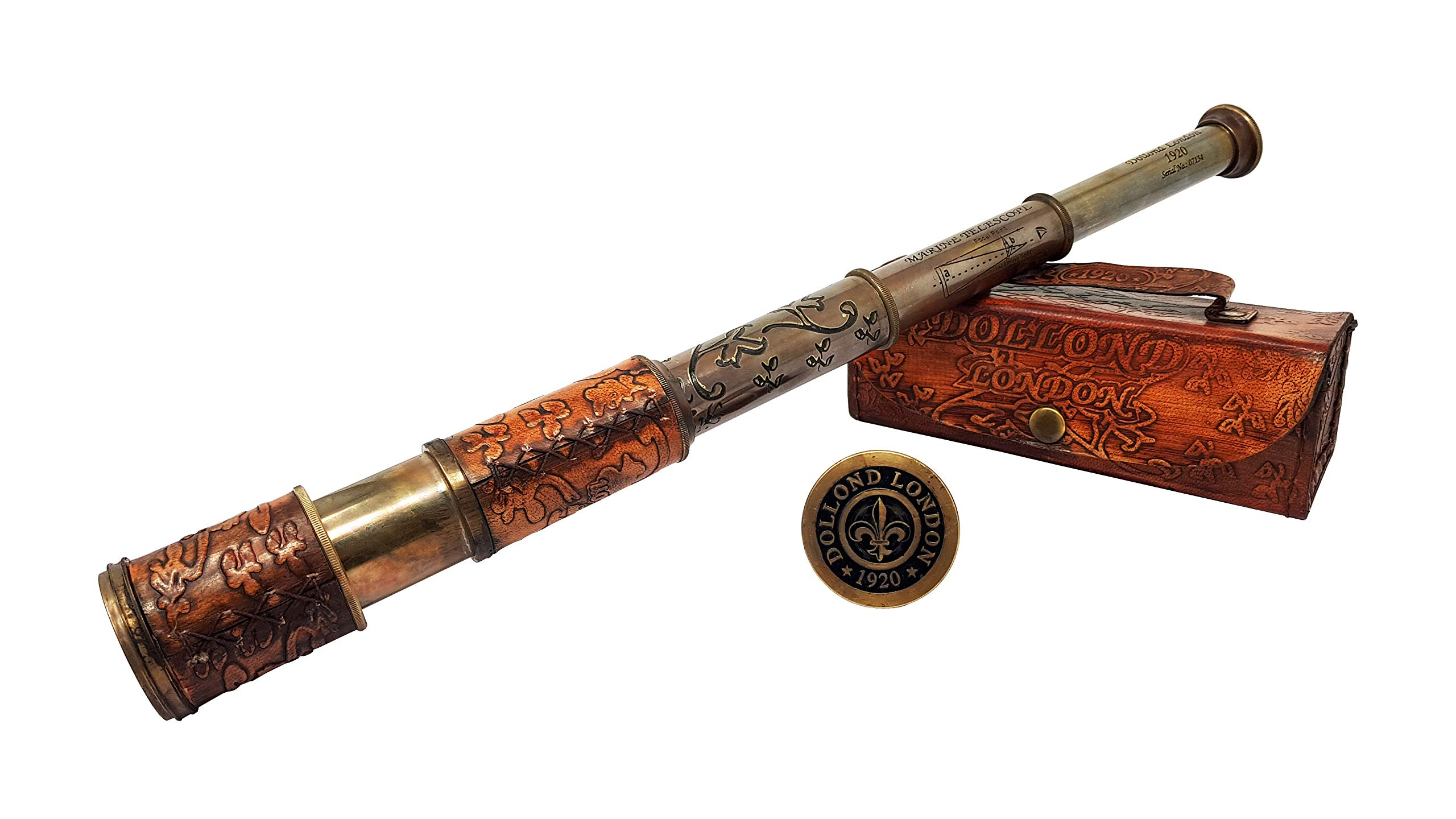 Brass Nautical - Antique Working Telescope / Spyglass Replica in Leather Box, with Glass Optics, Extendable to 14 inches, Made of Pure Brass, Decorative Kids Scope by Brass Nautical