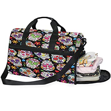 Amazon.com: Day Of The Dead Sugar Skull - Bolsa de viaje ...
