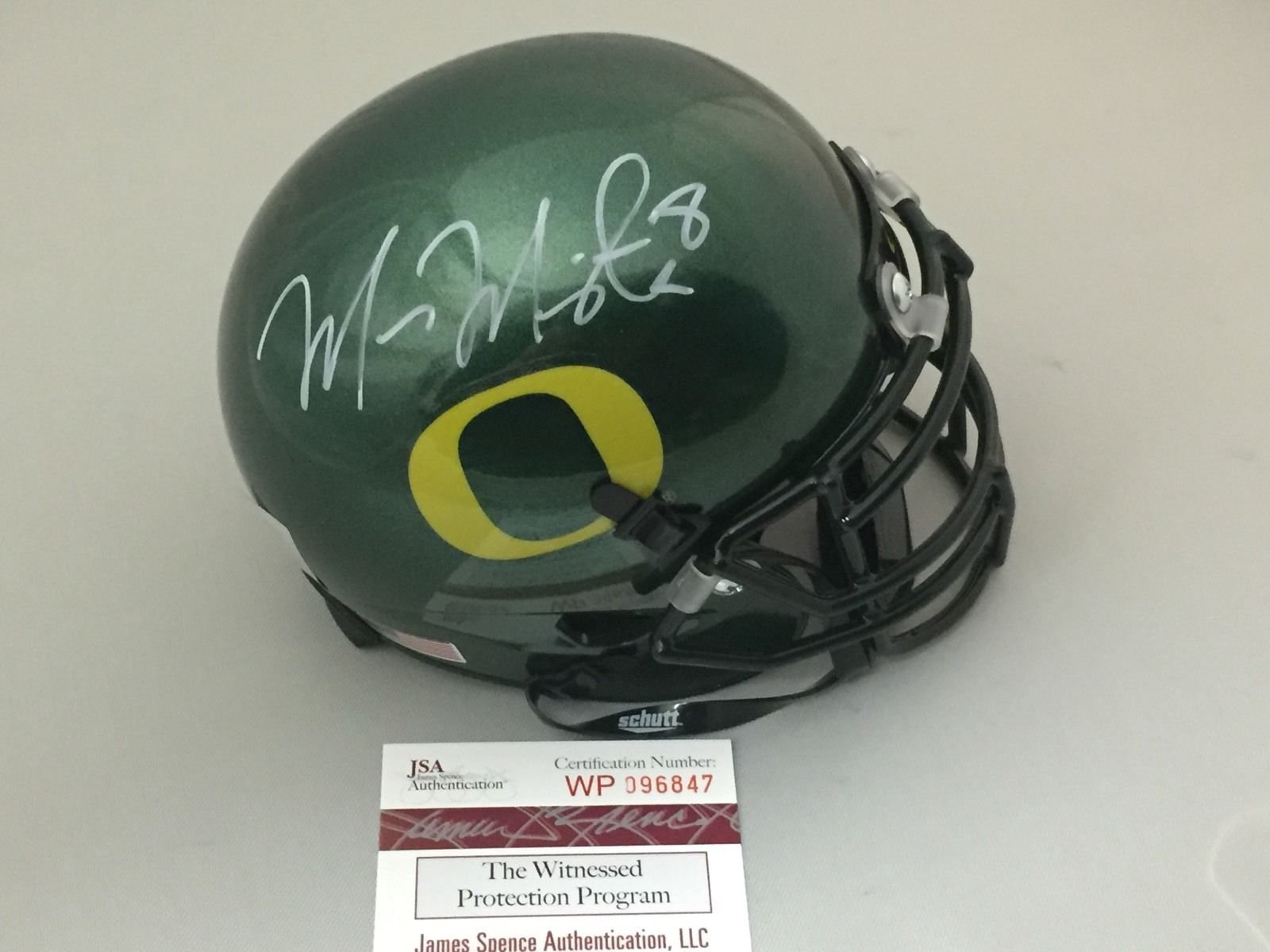 Autographed/Signed Marcus Mariota Oregon Ducks Green Football Mini Helmet JSA & GTSM COA