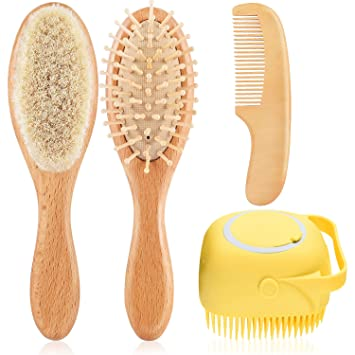 Ideal for Cradle Cap Perfect Baby Registry Gift Baby Hair Brush and Comb Set for Newborns /& Toddlers Blue Natural Soft Goat Bristles