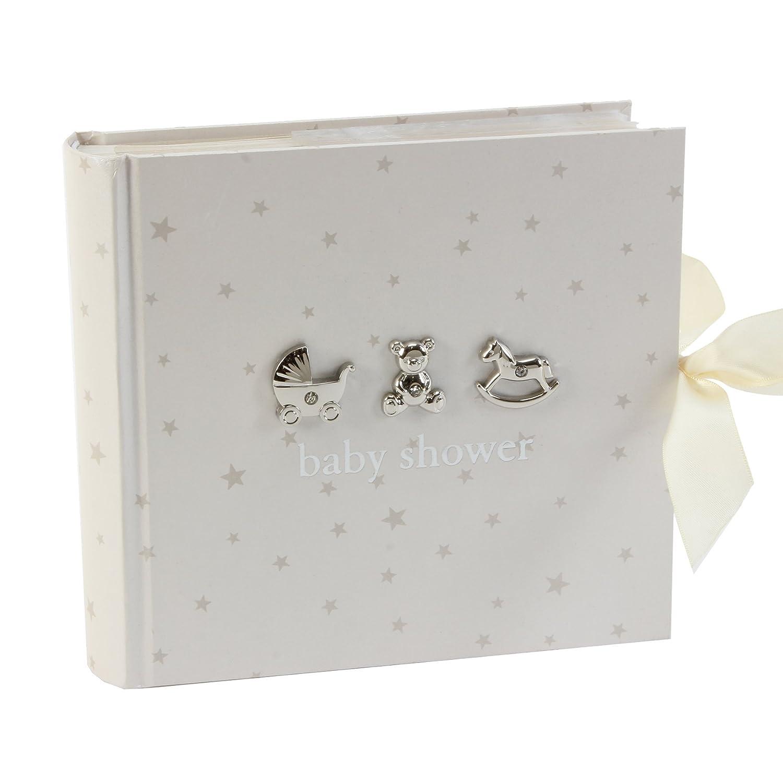 Beautiful Bambino Einsteck-Fotoalbum Baby Shower (Babyparty), 15,2x 10,2cm, Weiß mit silberfarbenen Sternen und Symbolen 2x 10 2cm Juliana CG1056