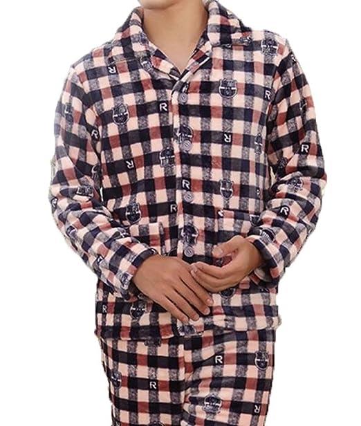 Pijamas De Los Hombres De Franela De Manga Larga De Otoño Y Los Hombres De Invierno