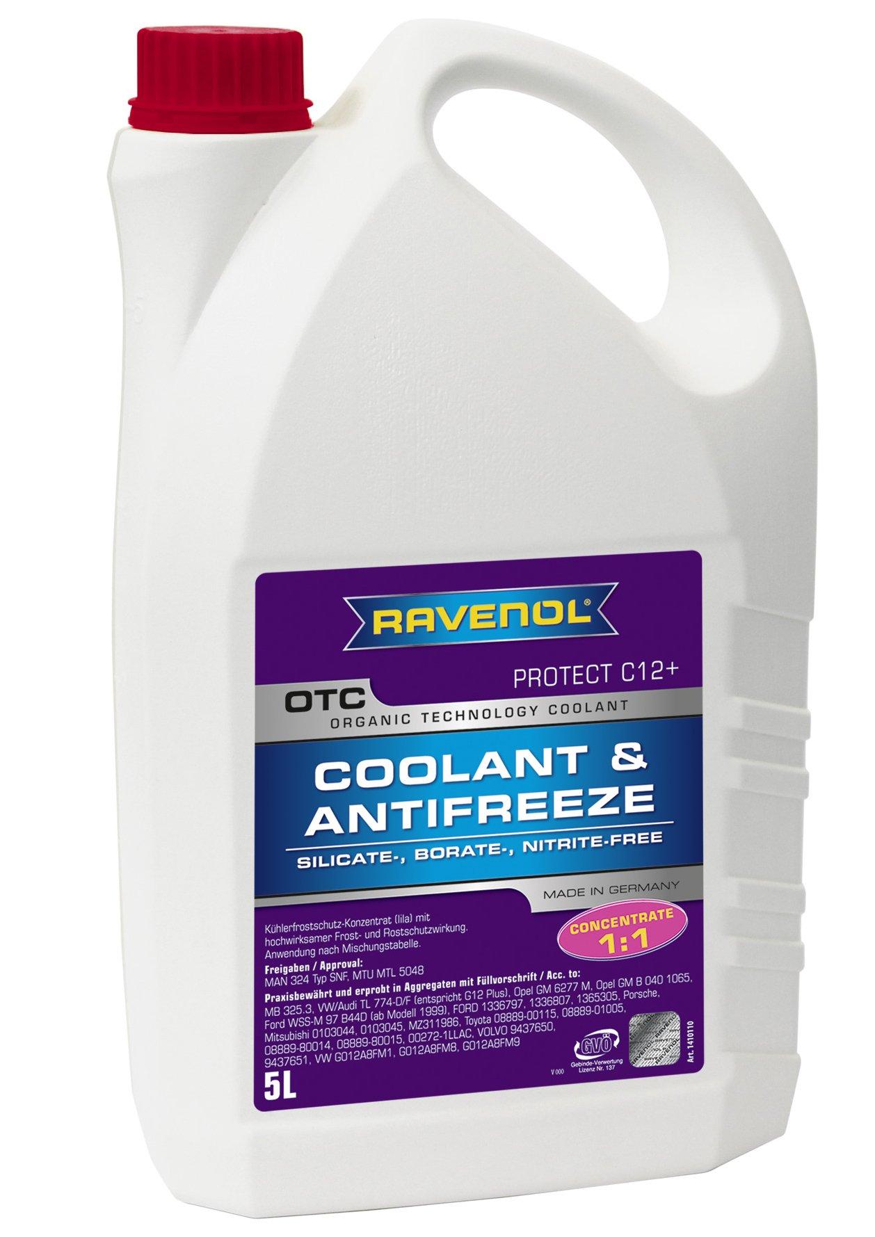 RAVENOL J4D2001 Coolant Antifreeze - OTC C12+ Concentrate VW TL 774 F (G12 Plus) (5 Liter)