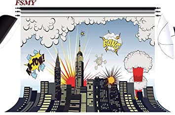 Fsmy 7x5ft Superhero Party Supplies Photography Backdrop For