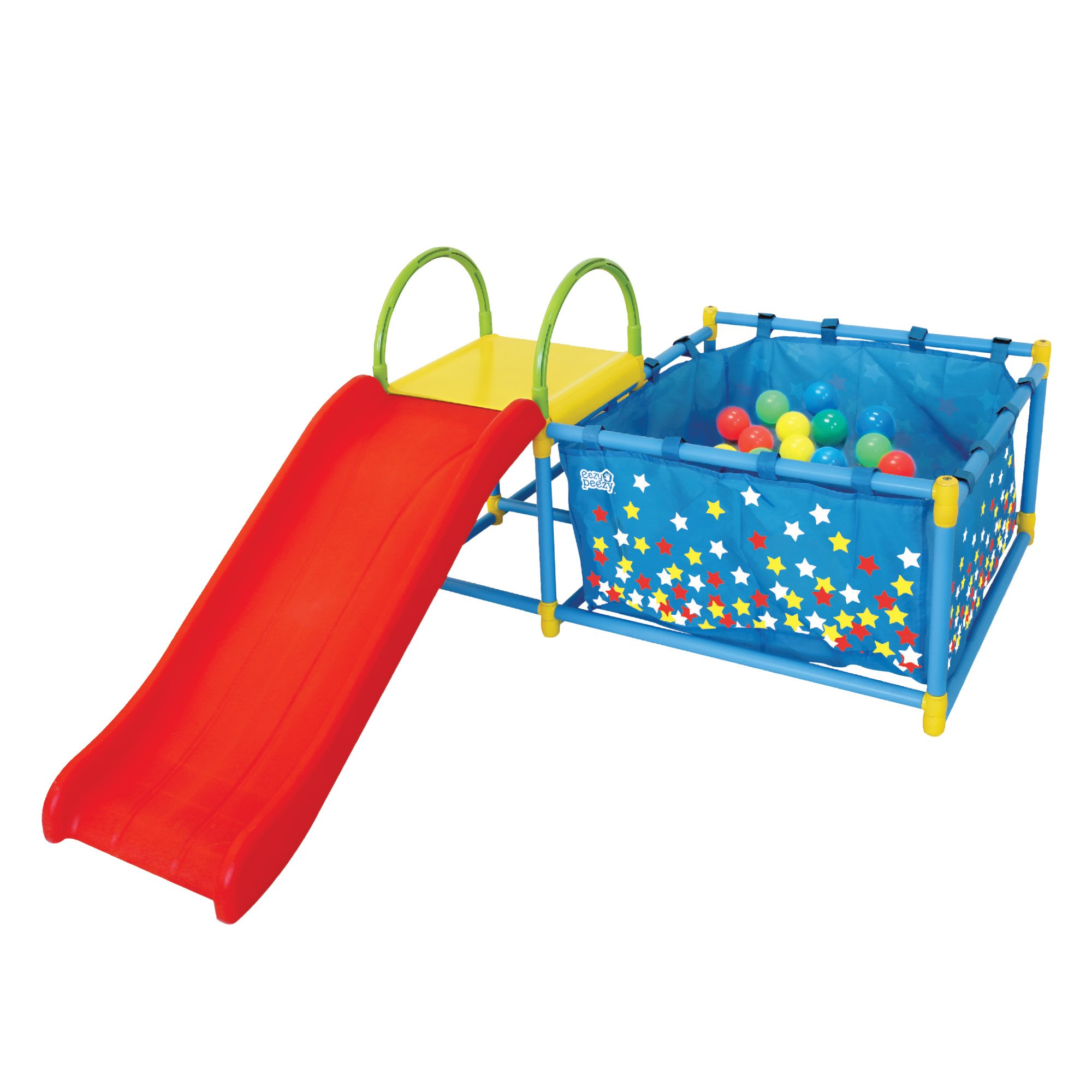 Eezy Peezy Active Play 3 in 1 Jungle Gym Foldable PlaySet - Includes Slide, Ball Pit, & Toss Target with 50 Colorful Balls