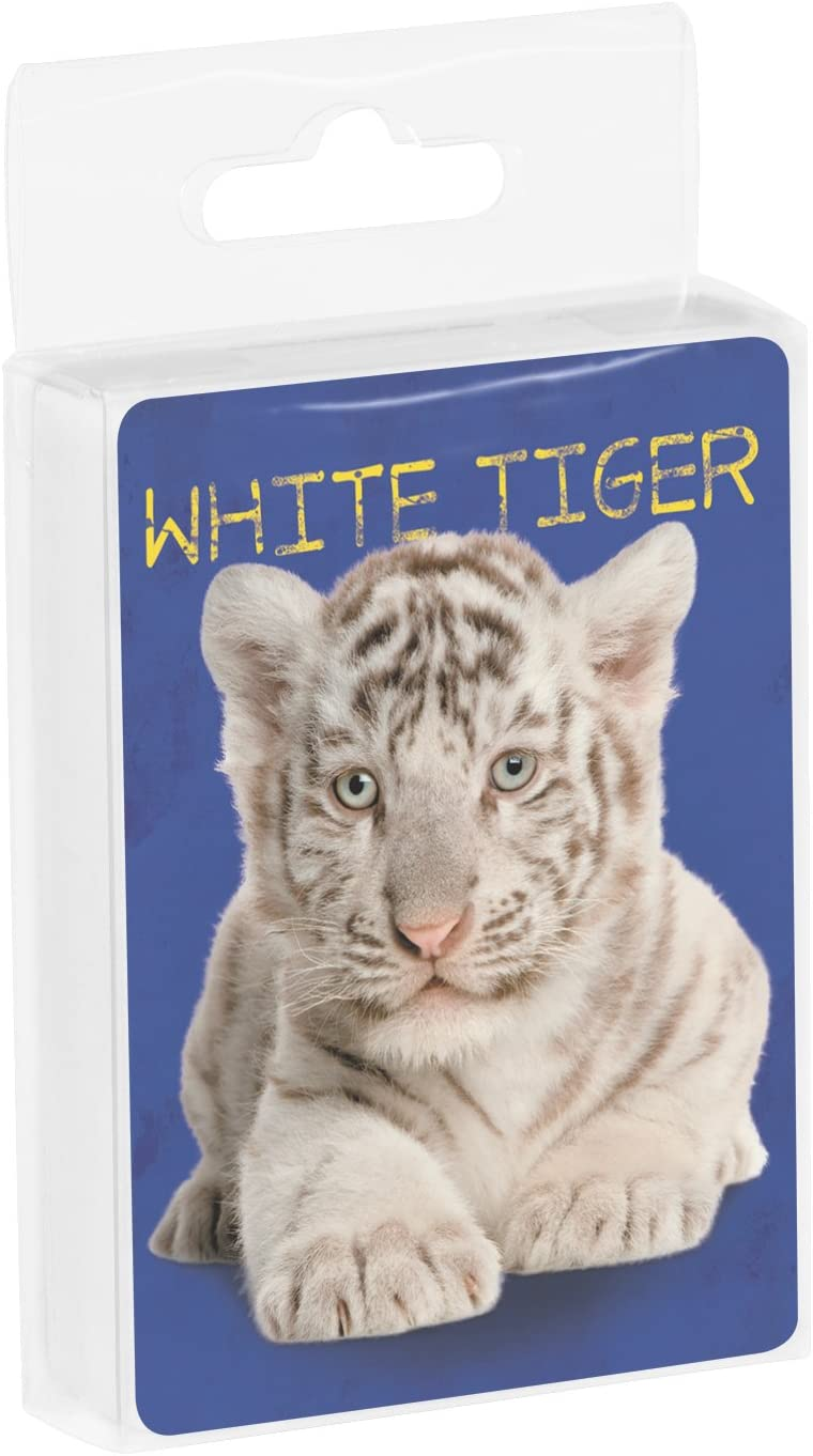 White Tiger Flowers 2.5 x 0.8 x 3.5 Inches Tree-Free Greetings Deck of Playing Cards CD15930