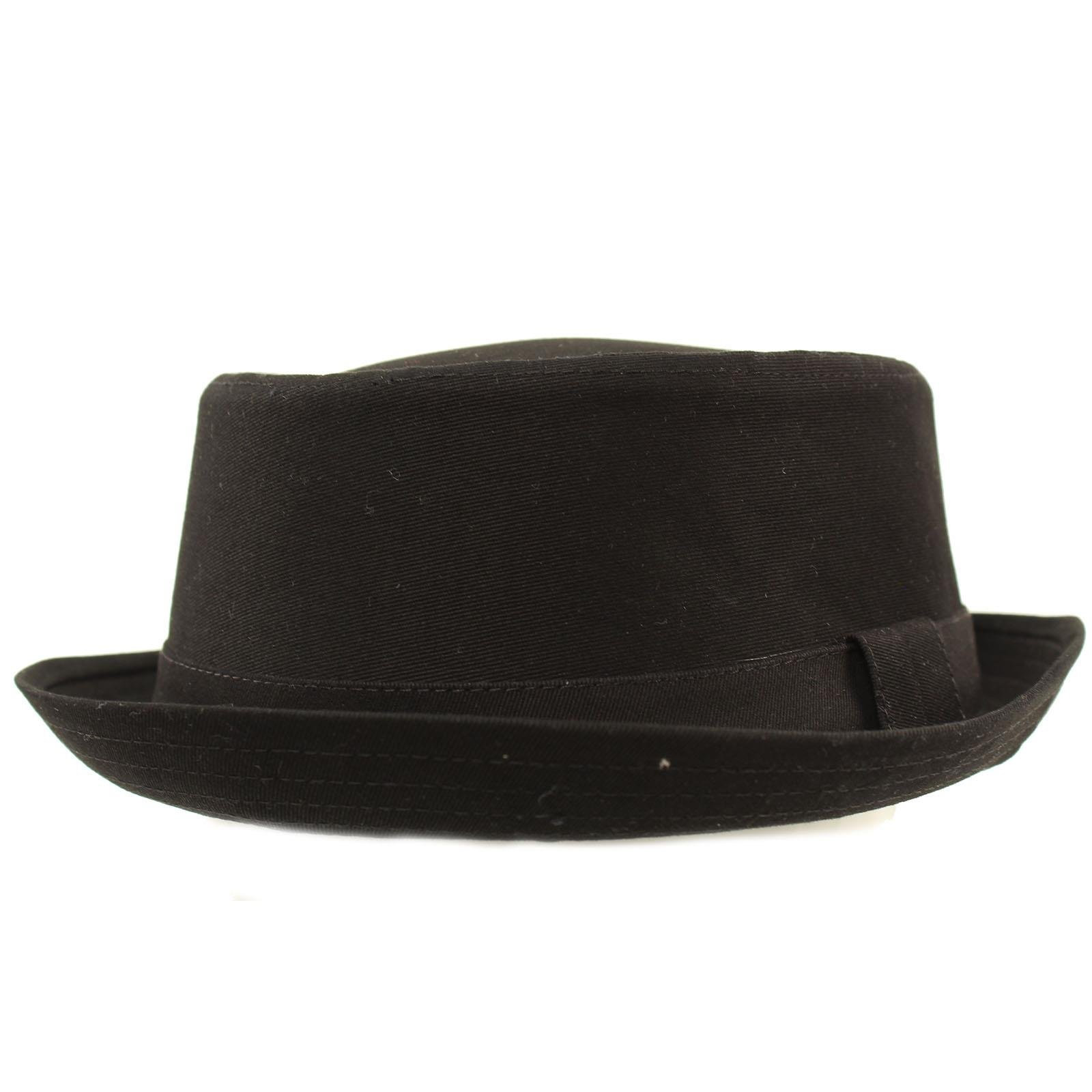 SK Hat shop Men's Everyday Cotton All Season Porkpie Boater Derby Fedora Sun Hat L/XL