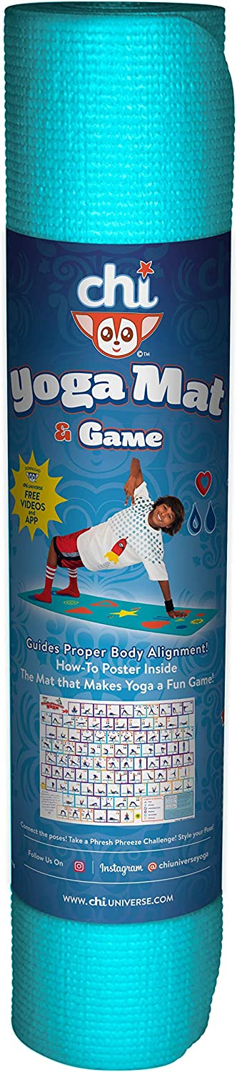 Kids, Tween/Adult Yoga Mat Sizes & Yoga Game, The Chi Mat + How-to Poster - Makes Yoga Fun - Comes in 2 different Mat Sizes for Kid and Tween/Adult - ...