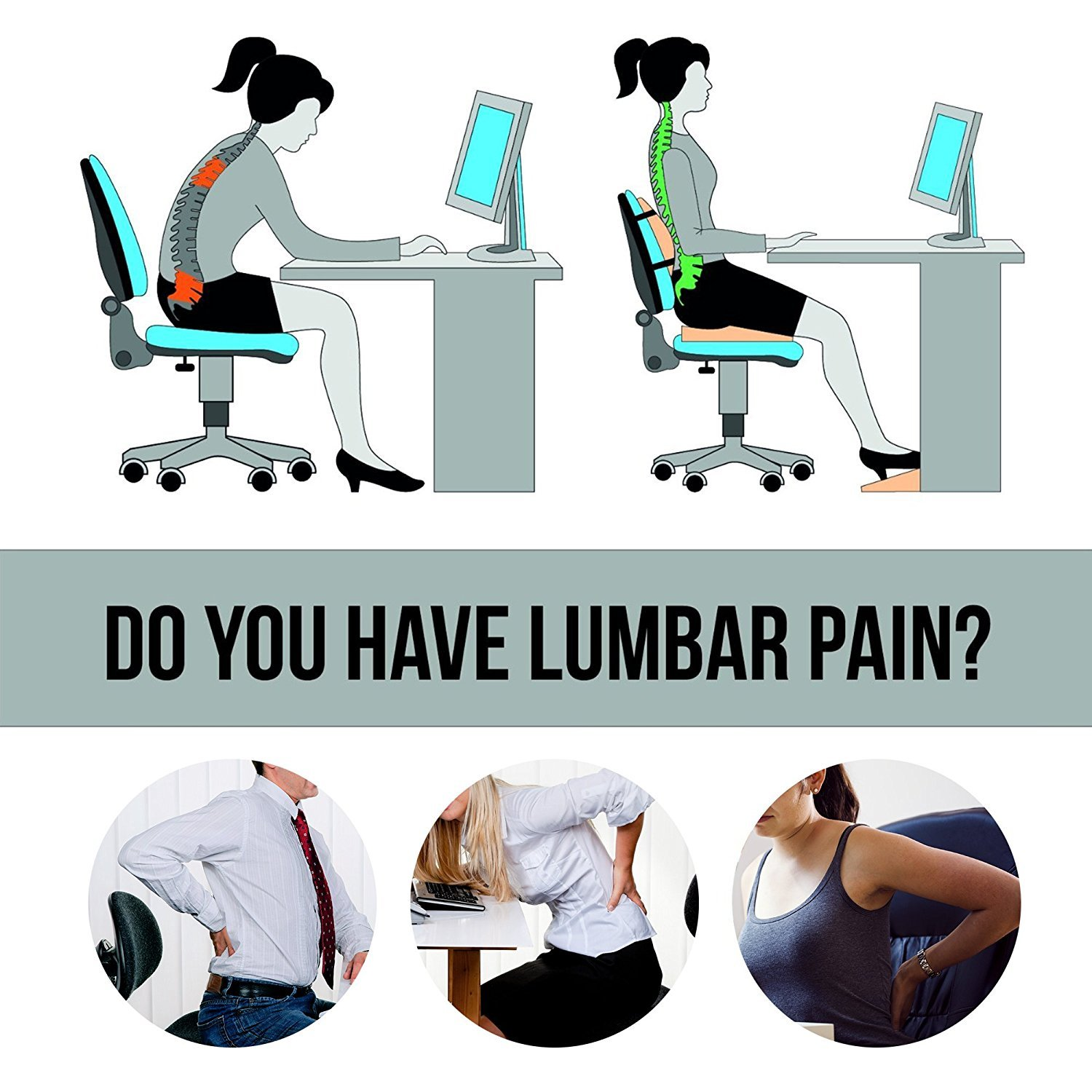 Lumbar Support Pillow Cushion, HOVERAREA Memory Foam Lower Back Pain Lumbar Pillow for Car, Office Chair - Improve Your Posture, Soft & Firm Lumbar Cushion with Adjustable Straps
