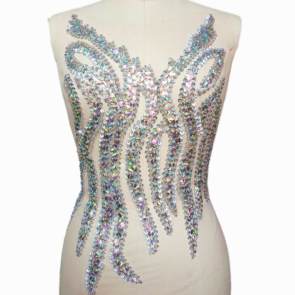 Sparkle Elegant Handcrafted Crystals AB Color Rhinestones Sew on Applique Bridal Belt Wedding Beaded Patch DIY for Women Gown Evening Prom Clothes Decoration by Bi.Dw.M