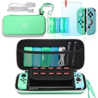 Switch Animal Crossing Accessories, Switch Carrying Case, Silicone Joy Con Covers, Game Card Cases, Tempered Glass…