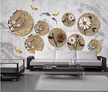 Mural De Papel Tapiz De Fotos Foto De Archivo 3D Ratán Lindo Plato De Pescado Fondo