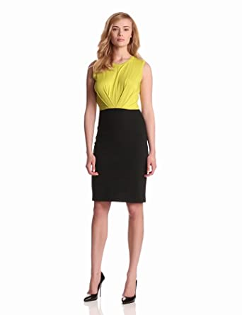 Kenneth Cole New York Women's Mixed Media Dress, Citron/Black, X-Small