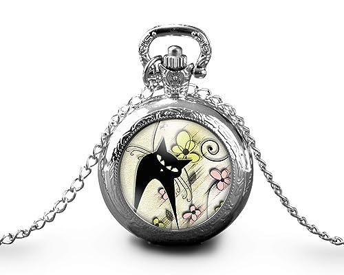 Collar de reloj de bolsillo cabochon